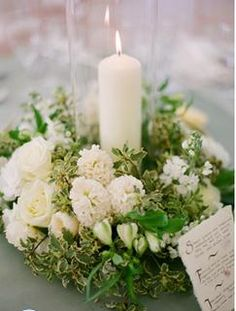 Candles + Flowers....green and white...so elegant