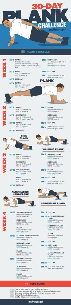 This is a bit different than the other 30 Day Plank Challenges. I varies each day, instead of just adding 10 seconds each day.