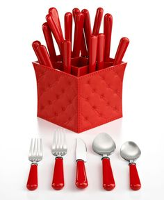 QSquared Flatware, Provence Red 20 Piece Set with Caddy - Summer Living - for the home - Macy's