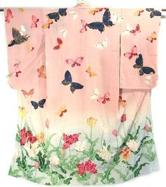 Kimono - Showa or Taisho period. Dyed and Embroidered.
