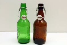 Pair of Glass Bottles Vintage Beer Bottles Glass Water Serving Pitchers Swing Top Bottles Vintage Bottle Vase (14.00 USD) by AllThingsNewShoppe