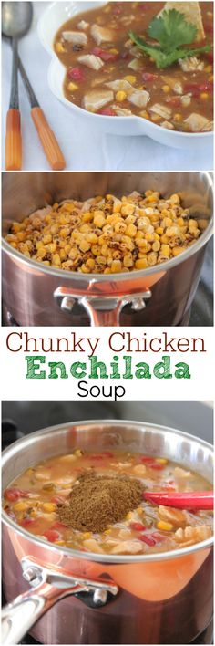 Chunky Chicken Enchilada Soup, simple and delicious weeknight dinner! #dinner #soup #chicken