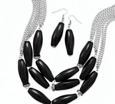 Silver tone black bead with crystal accent earring and necklace set 29.00 USD