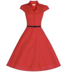 'Rebecca' Red Polka Dot Tea Dress (£34) ❤ liked on Polyvore featuring dresses, tea dress, polka dot dresses, tent dress, red swing dress and tea party dresses