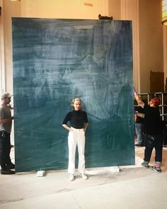Rita Ackermann power posing in front of her chalkboard painting of Madison Square Park abstracted & erased. Modern Art, Contemporary Art, Painters Studio, Abstract Painters, Madison Square, Memento Mori, Claude Monet, American Artists, Creative Inspiration