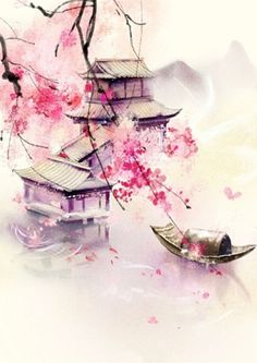 Wallpapers Chinesisches Aquarell… Creative Curtains and Window Coverings One of the easiest and leas Japanese Watercolor, Pastel Watercolor, Japanese Painting, Watercolor Paintings, Chinese Painting Flowers, Watercolor Background, Watercolor Landscape, Chinese Artwork, Chinese Drawings