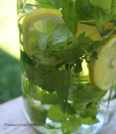 Make an herbal water - Fill a jar with fresh lemon balm leaves and a thinly sliced lemon. Pour in cold water until it reaches the top. Refri...