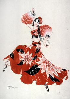 by Louis Curti Paris Music Hall :: Hargrett Library :: University of Georgia Libraries. I'm a fan of the white-lining. Something I should probably get into to cure the habit. Burlesque Music, University Of Georgia, Library University, Fashion Art, Vintage Fashion, Theatre Costumes, Flappers, Dance Art, Shades Of Red