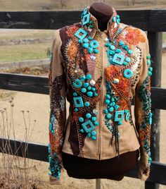 Sittin Pretty Show Clothing 2014 Amazing Turquoise jacket for western pleasure, trail, western riding!  Find us on Facebook!!