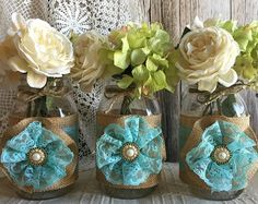 turquoise burlap and lace covered 3 mason jar vases wedding deocration, bridal shower, engagement, anniversary party decor