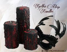 Victorian Gothic Drip finish pillar candles 3x9 by BlueMoonCandles, $29.00