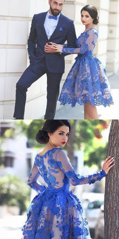 Said Mhamad Photography,Royal Blue Long Sleeve Short Prom Dresses 2016