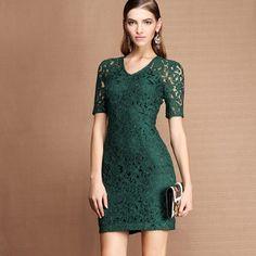 OL Style Slimming Half Sleeve Dark Green Dress http://www.jollychic.com