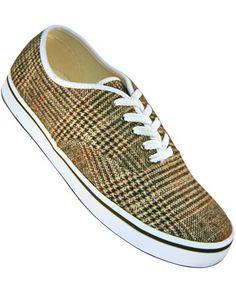 Aris Allen Men's Classic Dress Sneaker - Brown Plaid