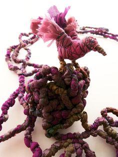Leaving the Nest - Francesca Cecchini (2014), necklace (detail) // Materials: repurposed sari silk, silk thread, copper wire.