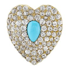 Victorian Turquoise and Diamond Heart Brooch / Pendant    1900  Super Sparkly Heart brooch and pendant. The brooch attachment is removable so it can be worn as a pendant. There are 7 carats of incredible chunky Old Mine cut diamonds. Very high quality Persian Turquoise. In 18 karat yellow gold.