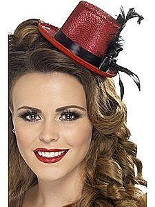 Fever Mini Top Hat On Headband Purp Fancy Dress Purple Glitter Ladies