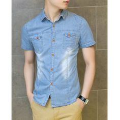 Fashion Style Turn-down Collar Solid Color Men's Short Sleeves Denim Shirt