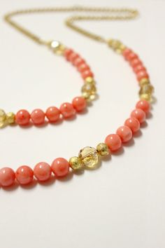 Long Coral and Czech Glass Necklace  pink and by BohemianWhimSea, $44.00