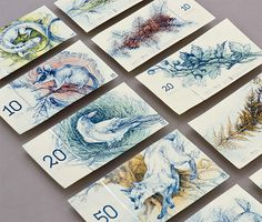 Hungarian euro banknote series. The common side of each note features european animals, the other side shows related species of plants. The banknotes are original etching prints.
