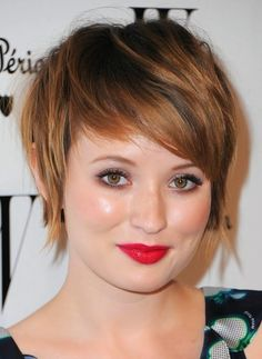 BOB SHORT HAIRSTYLE FOR ROUND FACES Short bob hairstyles compliments women with round faces especially when styled so that the sides' cover-up the cheekbones and the bangs side swept. This bob short hairstyle for round faces will compliment your facial features (hide the cheekbones or round corners of your face) make your face look a little longer.