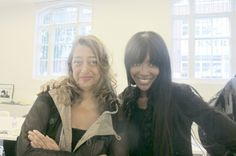 "Zaha Hadid Discusses ""Liquid Space"" and 3-D Printing With Naomi Campbell"