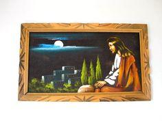 1970s Vintage Black Velvet Jesus Painting