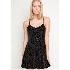 Brandy Melville velvet dress Lace, velvety patten in a black dress with spaghetti straps Brandy Melville Dresses Mini