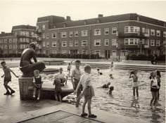 1950's. A view of the children's swimming pool at the Gibraltarstraat in Amsterdam-West. The Gibraltar neighborhood is located in the triangle formed by the Admiraal de Ruijterweg, Haarlemmerweg and Bos en Lommerweg. The neighborhood was built in the 1930s and 1940s. The streets were named after historical naval battles in the Gibraltar area. #amsterdam #1950 #Gibraltarstraat