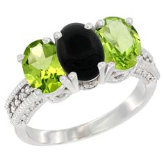 10K White Gold Natural Black Onyx & Peridot Sides Ring 3-Stone Oval 7x5 mm Diamond Accent, size 6.5, Women's
