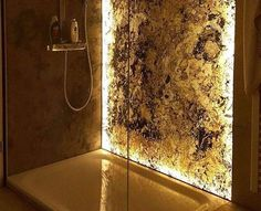 How cool would this look in your bathroom? Want a free quote? Get in contact with us now on: 📞 01922 401 893 📧 kadi@jenflow.co.uk #resin #stone #bathroom #translucent #install #epoxy #floor #wall #stonwrap #shower Stone Veneer Sheets, Thin Stone Veneer, Natural Stone Veneer, Natural Stones, Slate Stone, Stone Wrapping, Wood Glue, Wall Lights, Epoxy
