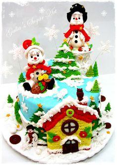 Christmas cake with honey house - by Galia Hristova @ CakesDecor.com - cake decorating website