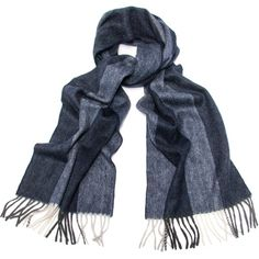 Men's Cashmere Scarf, Navy Blue Stripe Cashmere Scarf