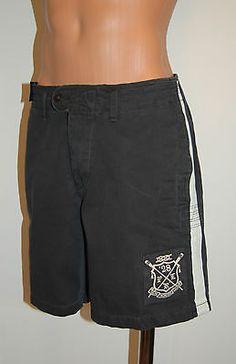 New $90 Polo Ralph Lauren Black PRL '28 Shorts sz 34 Flat Front Board Patch