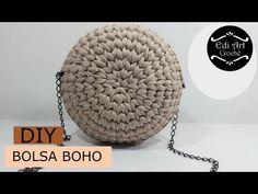 Como fazer bolsa com fio de malha- Bolsa boho redonda - Bag crochet Crochet Diy, Bag Crochet, Crochet Market Bag, Crochet Faces, Crochet Handbags, Crochet Round, Crochet Purses, Crochet Bikini, Diy Bags Tutorial