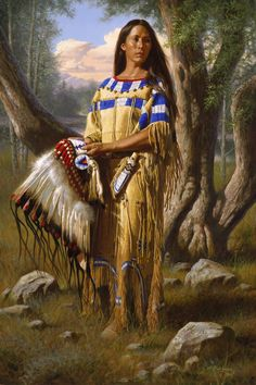 Native maiden with eagle headdress,, Probably Lakota