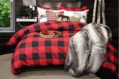Buffalo plaid in red and lead combines a casual sensibility with an unrepentant lumberjack charm that works in both large and small doses. Plaid Bedroom, Plaid Bedding, Fall Home Decor, Cheap Home Decor, Bedroom Themes, Bedroom Decor, Bedrooms, Bedroom Ideas, Master Bedroom