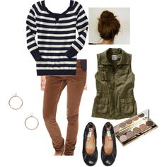 skinnies and striped tee w/ cargo vest