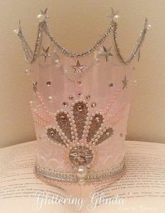 Glittering Glinda crown handmade wizard of oz princess party fairy crown glinda fairy crown pink glitter birhday photography prop costume