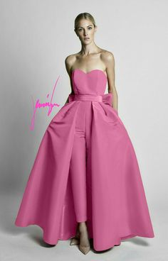 Silk Faille Bow Detailing in Back waist level Semi-sweetheart strapless neckline Cigarette style trousers Concealed back zipper Detachable skirt Partially lined Shell: Sil… Fancy Wedding Dresses, Prom Dresses, Detachable Wedding Dress, Long Party Gowns, Wedding Pantsuit, Cozy Fashion, Beautiful Gowns, Playing Dress Up, Pretty Dresses