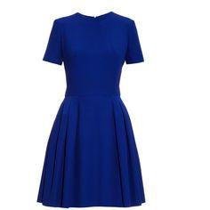 Alexander McQueen Leaf-crepe skater dress ($890) ❤ liked on Polyvore featuring dresses, vestidos, short dresses, blue, crepe dress, skater skirt dress, circle skirt, flared skirt and blue circle skirt