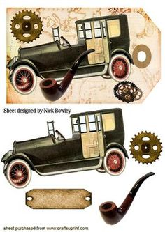 VINTAGE CAR WITH STEAMPUNK AND PIPE ON TAG on Craftsuprint designed by Nick Bowley - VINTAGE CAR WITH STEAMPUNK AND PIPE ON TAG, Makes a lovely card - Now available for download!