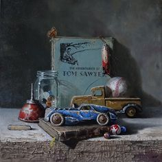 """Childhood Memories oil painting by Mark Marcuson Still Life Drawing, Painting Still Life, Still Life Art, Memories Photography, Still Life Photography, Nostalgia Art, Realistic Paintings, Light Painting, Ancient Art"