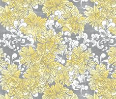 peony_watercolor fabric by holli_zollinger on Spoonflower - custom fabric  @Kayleigh Jordans--wouldn't this be perfect with the yellow bird pillows?!