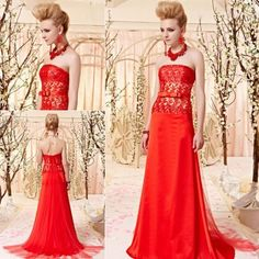 Strapless red trailing evening dress red lace wedding party dress