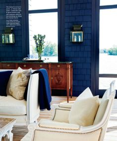 Pops of navy in a well-lit room Entry Home Design Ideas Apartment by Cathy Echols Living Room White, Living Room Paint, Home And Living, Blue Rooms, Blue Walls, Style At Home, Greige, House With Porch, Nautical Home
