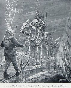 …the bones held together by the rags of his uniform.    Illustration from Deep Diving and Submarine Operations: A Manual for Deep Sea Divers and Compressed Air Workers, 1935