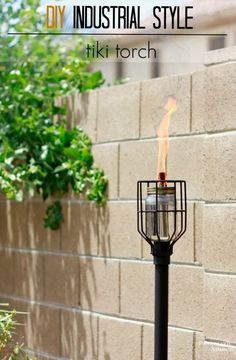 Learn how to make a DIY Industrial Style Tiki Torch from a mason jar and a few supplies found at the hardware store