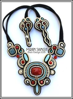 Soutache necklace in Black Red Cream and Light by MiriamShimon