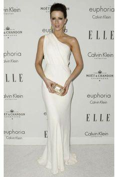 Celebrity Dresses Kate Beckinsale White One Shoulder Formal Gown Evening Dress Red Carpet - TheCelebrityDresses